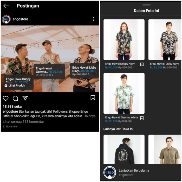 Contoh Post Instagram Shopping
