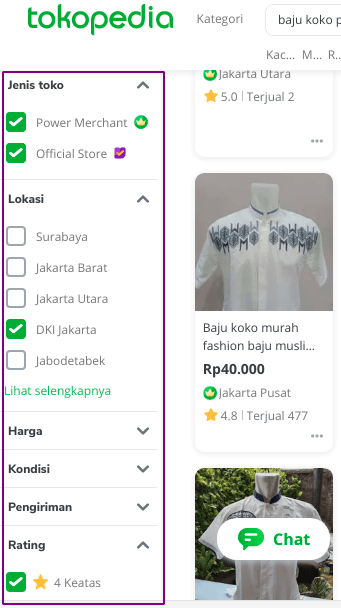 Cari Supplier di Tokopedia_Filter Seller